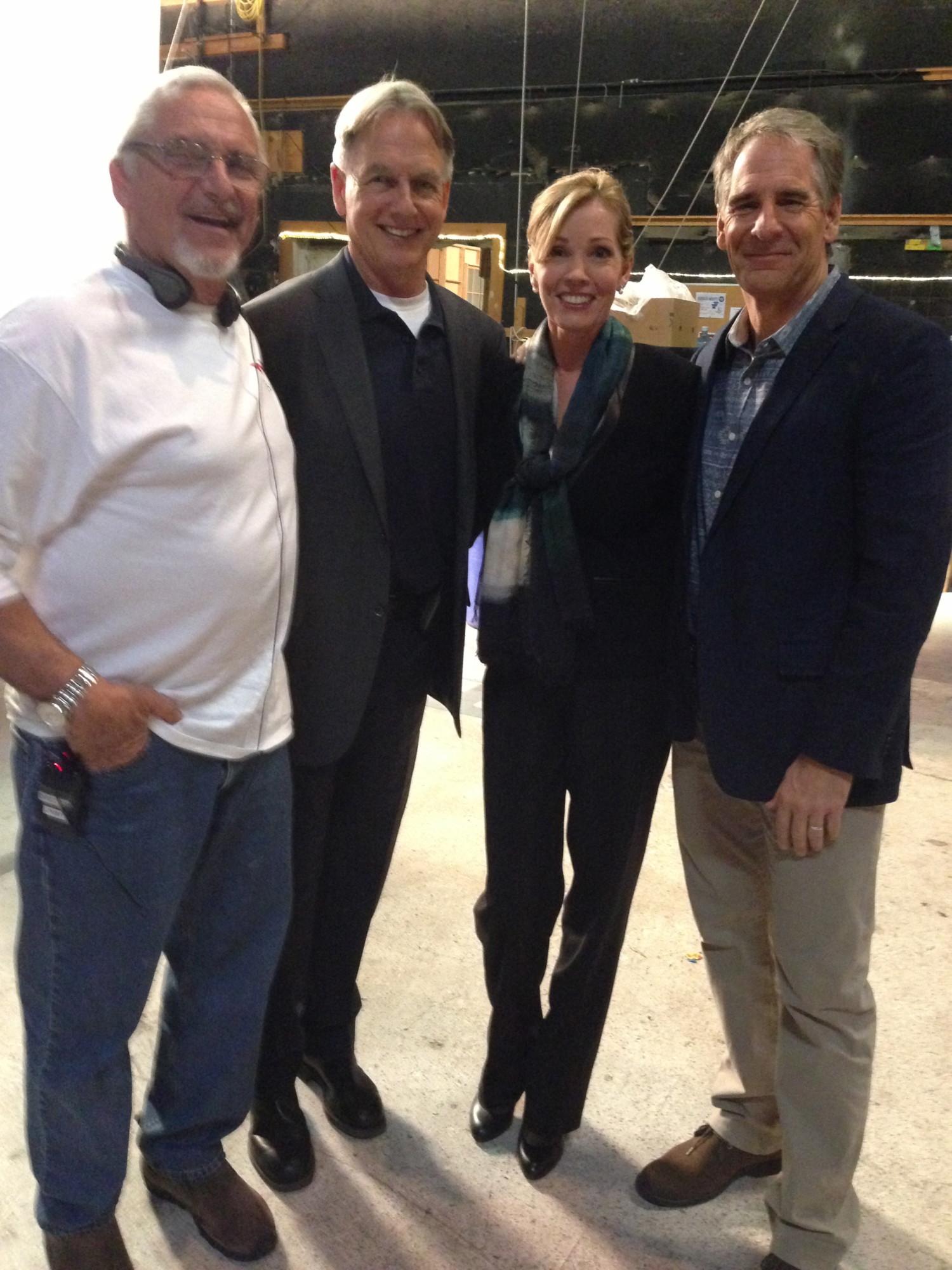 Feb. 2014 — Jimmy Whitmore, Mark Harmon, me, Scott Bakula